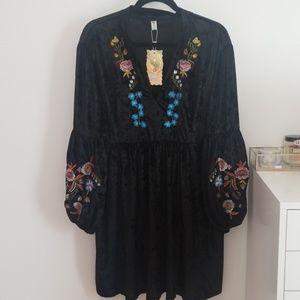 Velvet boho dress